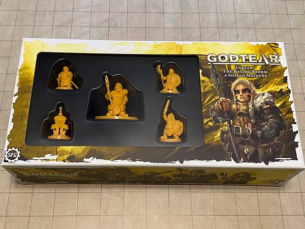 The front of the box for Luella, the Raging Storm, an expansion set for Godtear by tabletop gaming company Steamforged Games.