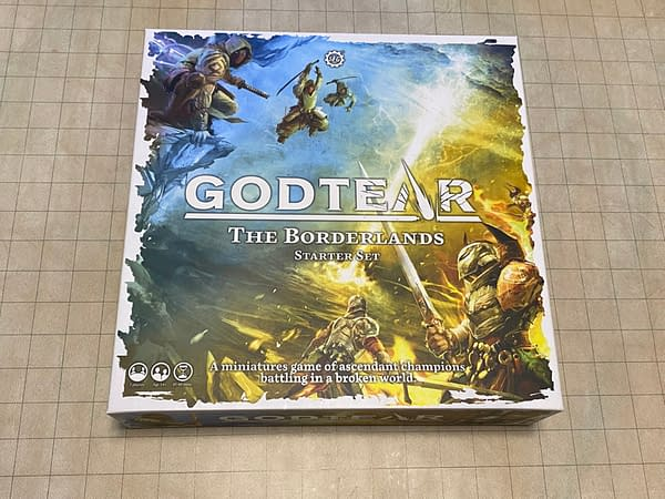 The box lid for The Borderlands starter set for Godtear, created and released by Steamforged Games.
