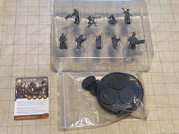 An array of the components that come in the ECB Black Ops kit for The Other Side, by Wyrd Miniatures.
