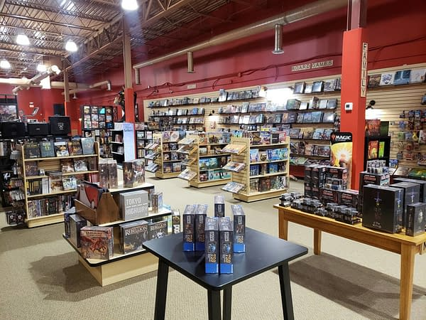 A shot of the large venue that is hosting the Magic: The Gathering Commander Sealed event, Just Games Rochester.