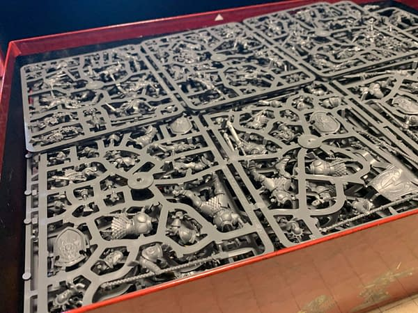 Merely the top layer of sprues from Age of Sigmar: Dominion, an upcoming release by Games Workshop. There are a lot of sprues in this box.