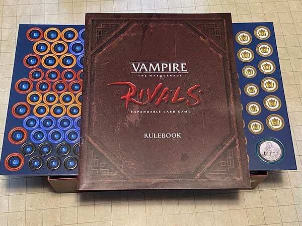 The core rulebook and tokens for Vampire: The Masquerade Rivals, an expandable card game by Renegade Game Studios.