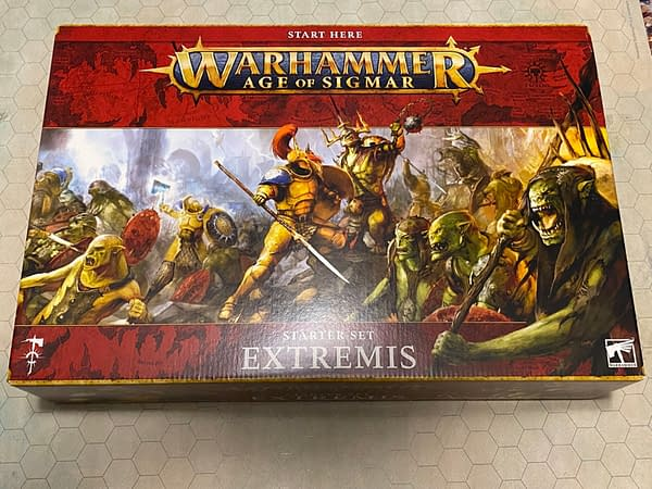 """The front cover of the box for """"Extremis"""", a starter set for Games Workshop's newest edition of Warhammer: Age of Sigmar."""