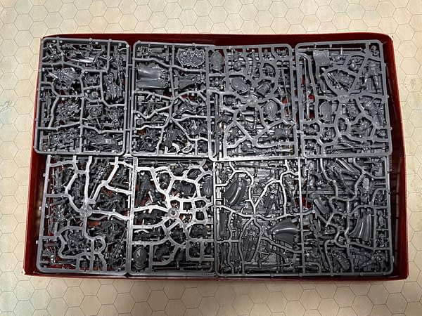 """A selection of some of the model sprues from the """"Extremis"""" boxed starter set for Games Workshop's third edition of their fantasy tabletop wargame, Warhammer: Age of Sigmar."""