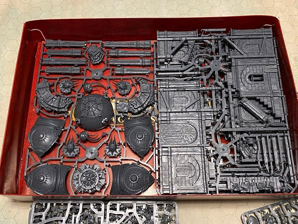 """The terrain sprues for the """"Extremis"""" boxed starter set for Games Workshop's third edition of Age of Sigmar."""