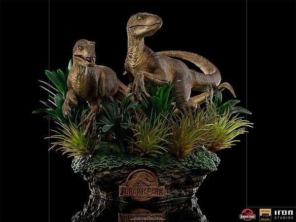 Jurassic Park Velociraptors Lurk in the Bushes with Iron Studios