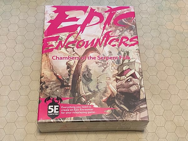 """The front cover of the box for Steamforged Games' new module: Epic Encounters' """"Chamber of the Serpent Folk""""."""