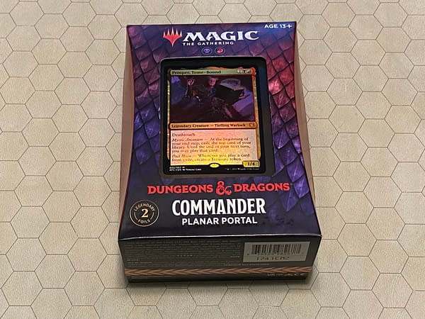 """The front of the box containing """"Planar Portal"""", the Commander deck coinciding with Adventures in the Forgotten Realms, an expansion set for Magic: The Gathering."""