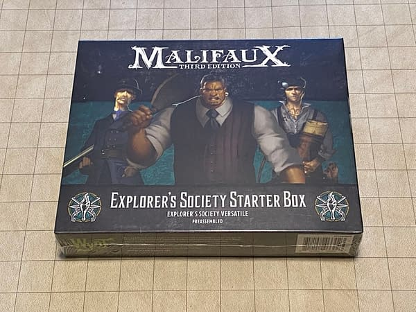 The front of the box for Wyrd Games' Explorer's Society starter set, a boxed set for Malifaux's third edition.