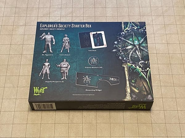 The back of the box for Wyrd Games' Explorer's Society starter set, a boxed set for Malifaux's third edition.