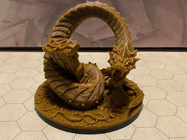 """The highly-detailed """"Snake God"""" giant snake miniature from Epic Encounters' latest module boxed set, """"Temple of the Snake God"""", by Steamforged Games."""