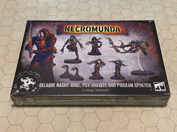 The front of the box for the Necromunda miniatures from House Delaque: Nacht-Ghul, Psy-Gheists and Piscean Spektor. Boxes attributed to Games Workshop.