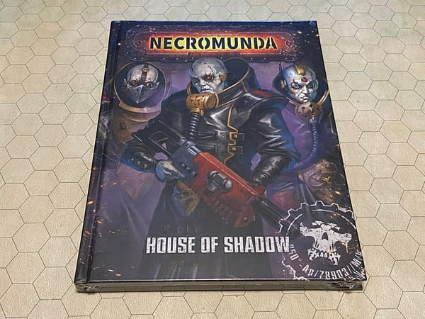 The front cover of House of Shadow, a source rulebook for rules pertaining to Necromunda's House Delaque. This source rulebook is also attributed to Games Workshop.
