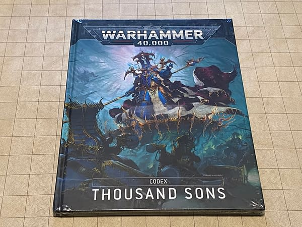 The front cover of the Thousand Sons codex for Warhammer 40,000, a wargame by Games Workshop.