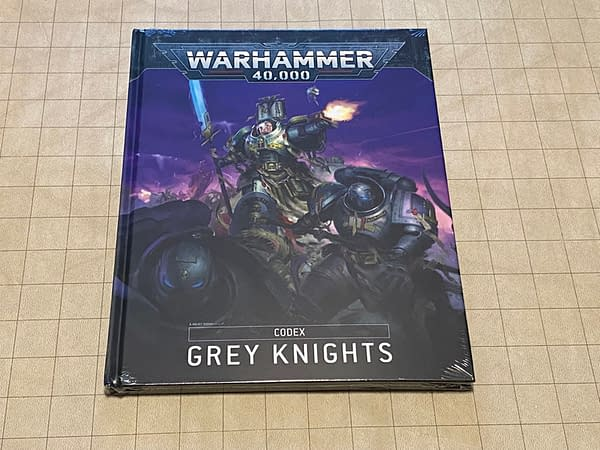 The front cover of the Grey Knights codex for Warhammer 40,000, a wargame by Games Workshop.