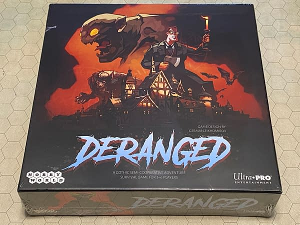 The front of the box for Deranged, a new board game by UltraPro Entertainment.