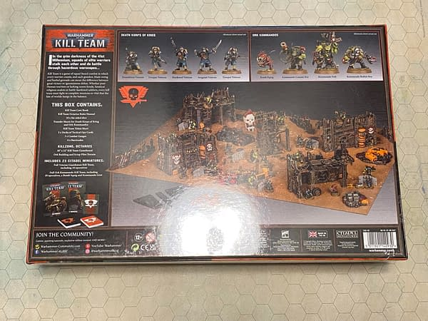 The back of the Kill Team: Octarius boxed set, a skirmish game by Games Workshop set in the grimdark universe of Warhammer 40,000.