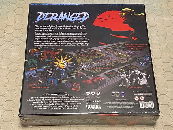 The rear of the box for Deranged, a dark fantasy board game by UltraPro Entertainment.
