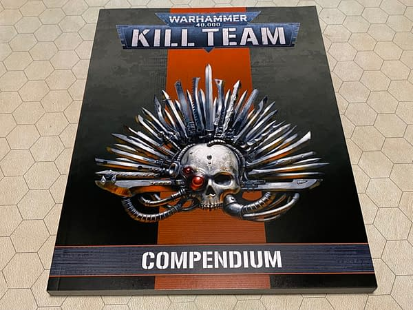The front cover for the 2021 edition of Kill Team: Compendium, a sourcebook by Games Workshop for their skirmish game Kill Team.