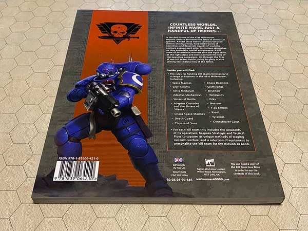The back cover of the 2021 edition of Kill Team: Compendium by Games Workshop.