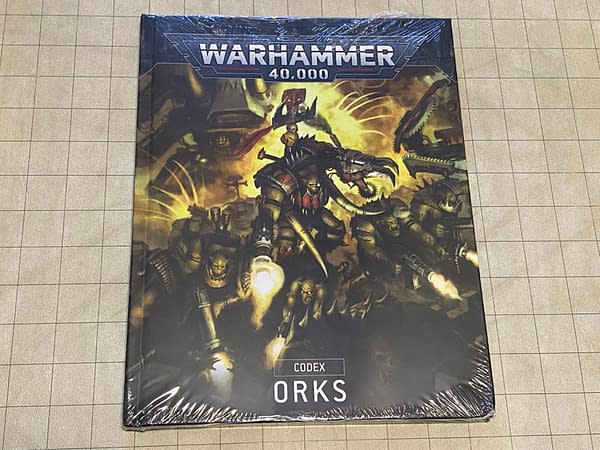 The Orks codex from the latest edition of Warhammer 40k, the quintessential grimdark sci-fi tabletop wargame by Games Workshop.