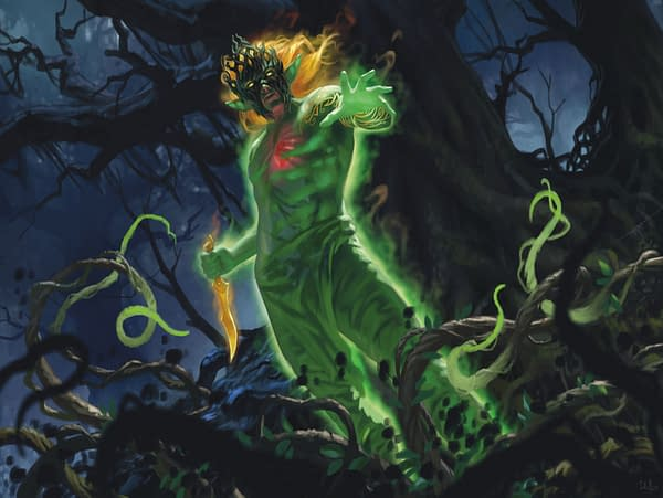 Obuun, Mul Daya Ancestor, the face of the Land's Wrath Commander deck, releasing alongside Zendikar Rising, an upcoming expansion for Magic: The Gathering. Illustrated by Chris Rallis.