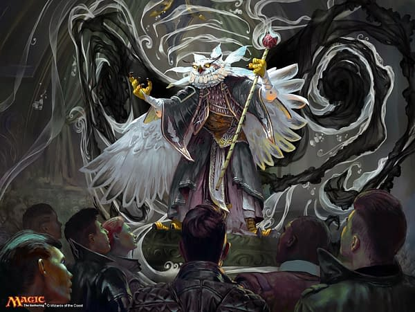 """The art for Breena, the Demagogue, a new card from Magic: The Gathering and the face card of the """"Silverquill Statement"""" Commander 2021 deck. Illustrated by Simon Dominic."""