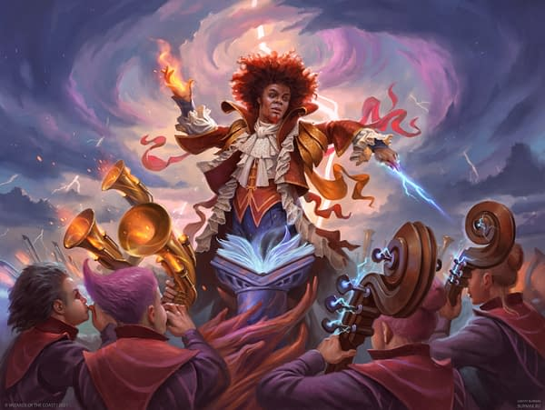 """The art for Zaffai, Thunder Conductor, the face commander for """"Prismari Performance"""", one of the five new Magic: The Gathering preconstructed decks to coincide with the Strixhaven expansion. Illustrated by Dmitry Burmak."""