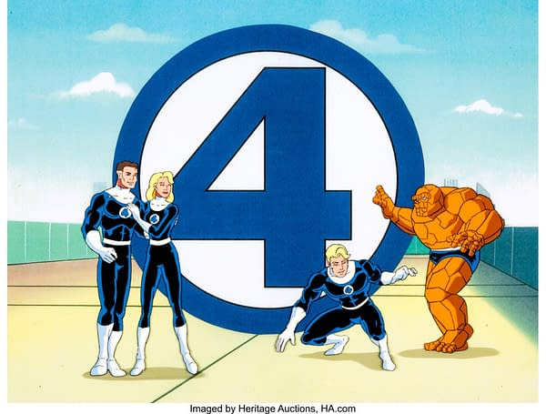 Fantastic Four Mr. Fantastic, Invisible Woman, Human Torch and Thing Opening Titles production cel. Credit: Heritage