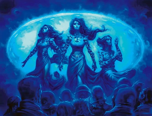 The art for Sen Triplets, a card originally from Magic: The Gathering's Alara Reborn expansion and the focus of this deck tech. Illustrated by Greg Staples.