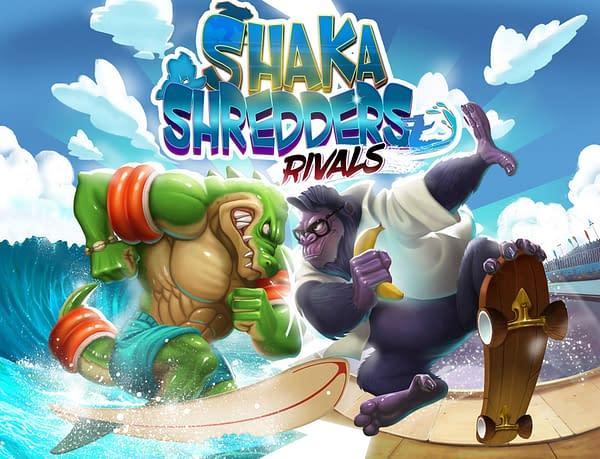 The candy-colored key art for Shaka Shredders: Rivals, by Sunslap Studios.