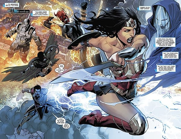 Wonder Woman #50 art by Stephen Segovia, Jesus Merino and Andy Owens, Emanuela Lupacchino and Ray McCarthy, Romulo Fajardo Jr., and Chris Sotomayor