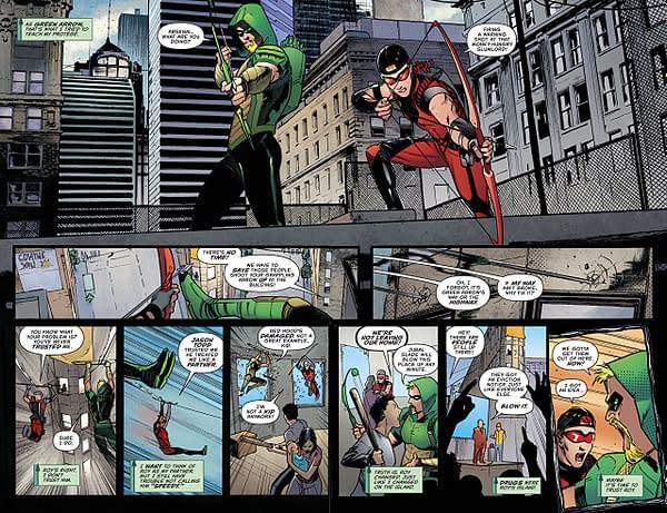 Green Arrow #43 art by Javier Fernandez and John Kalisz