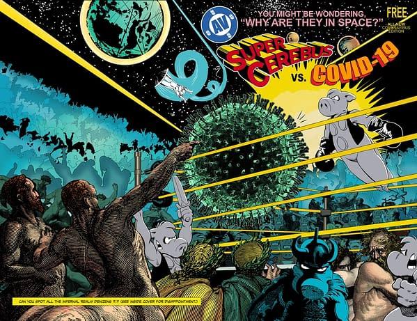 The cover to the free Super-Cerebus Vs COVID-19