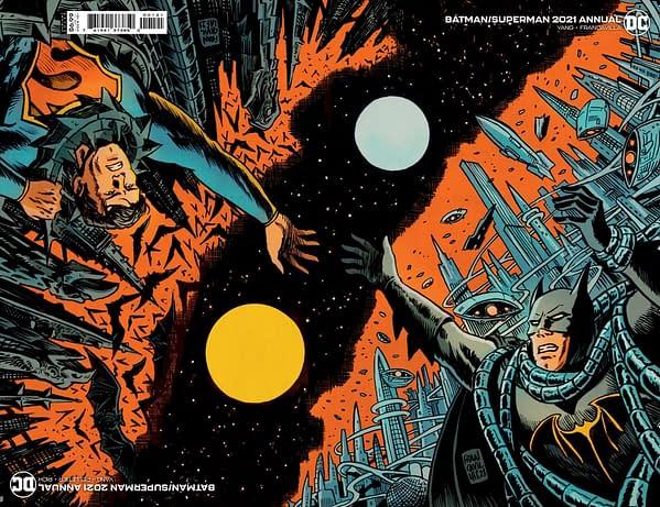 Cover image for BATMAN SUPERMAN 2021 ANNUAL #1 CVR B FRANCESCO FRANCAVILLA CONNECTED FLIP CARD STOCK VAR
