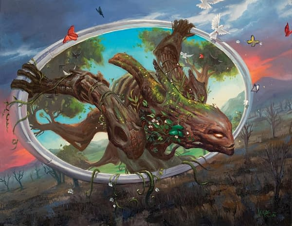 The full art for Gaea's Will, a new card from Modern Horizons 2, the upcoming supplemental set for Magic: The Gathering. Illustrated by Lucas Graciano.