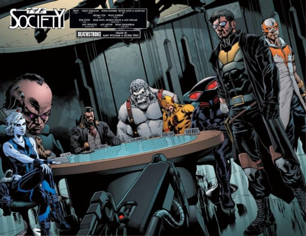 Deathstroke #25 art by Carlo Pagulayan, Norm Rapmund, Trevor Scott, Jason Pax, and Jeromy Cox