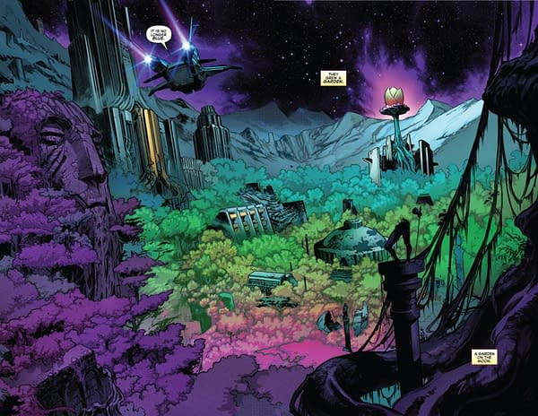 Empyre: Avengers #0 - Cotatu foliage is growing back over the Kree city. Preview Page from Marvel Comics.