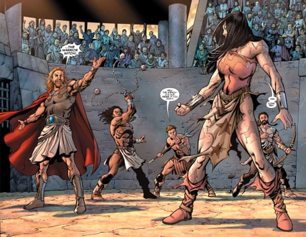Interior art from Wonder Woman and Conan #1 by Aaron Lopresti
