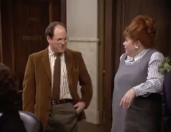 A screenshot of George Costanza in the famous Seinfeld episode being compared to Joey Ryan trying to ignore his cancellation and return to wrestling.