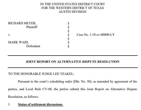 Further Delays In Richard Meyer Vs Mark Waid Case.