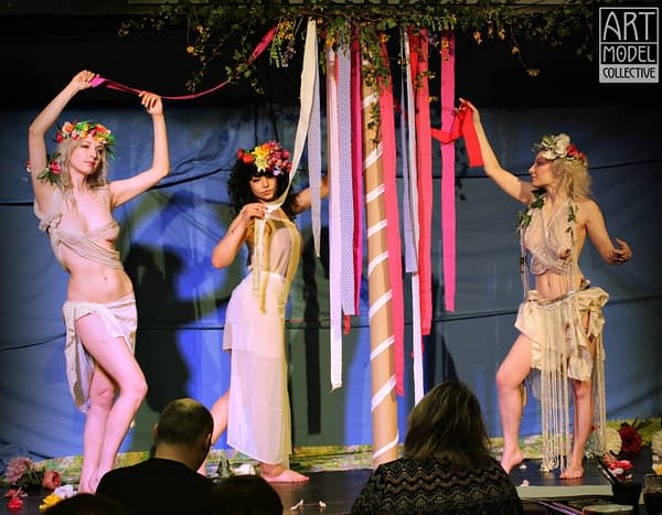 Manko, Carla, and Magdalene pose for The May Queens event
