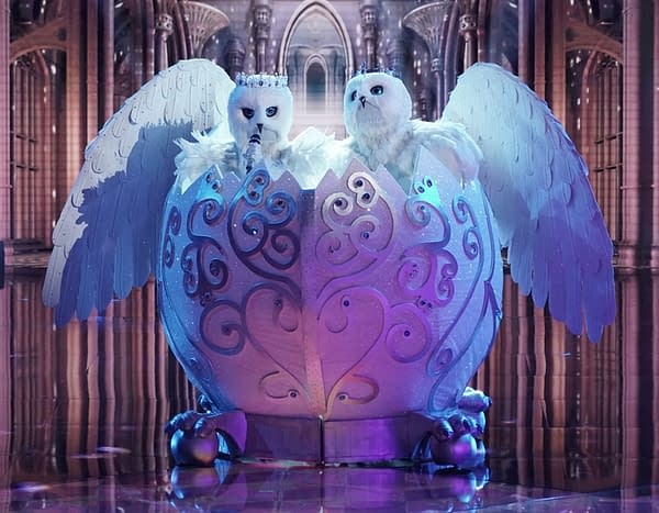 THE MASKED SINGER: The Snow Owls in the ÒThe Group A Play Offs - Famous Masked WordsÓ episode of THE MASKED SINGER airing Wednesday, Oct. 7 (8:00-9:00 PM ET/PT) on FOX. © 2020 FOX MEDIA LLC. CR: Michael Becker/FOX.