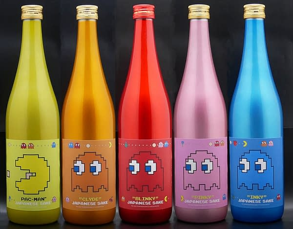 All four ghosts and Pac-Man appear on these special sake bottles, courtesy of NAVIO.