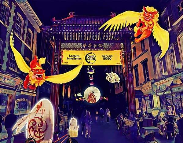 Artists impression of London's Chinatown for Over The Moon.