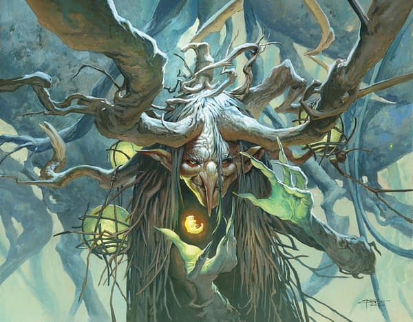 """The full art for Willowdusk, Essence Seer, a new legendary creature card from Magic: The Gathering's Commander 2021 release and the face commander of the """"Witherbloom Witchcraft"""" precon. Illustrated by Jesper Ejsing."""