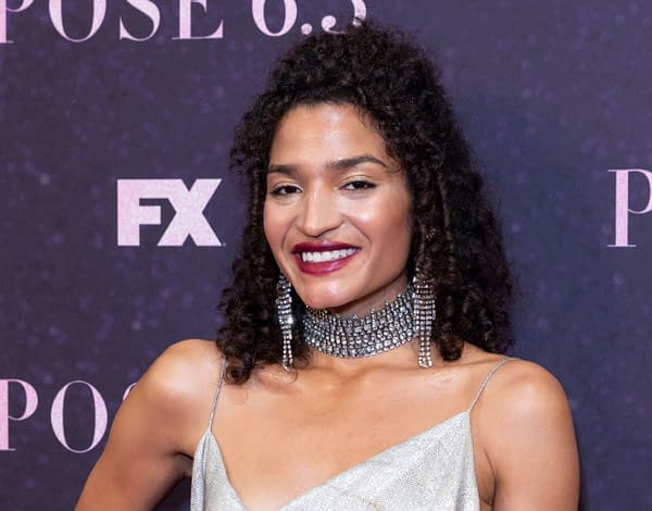 Indya Moore wearing dress by Christian Siriano attends FX Pose premiere at Hammerstein Ballroom