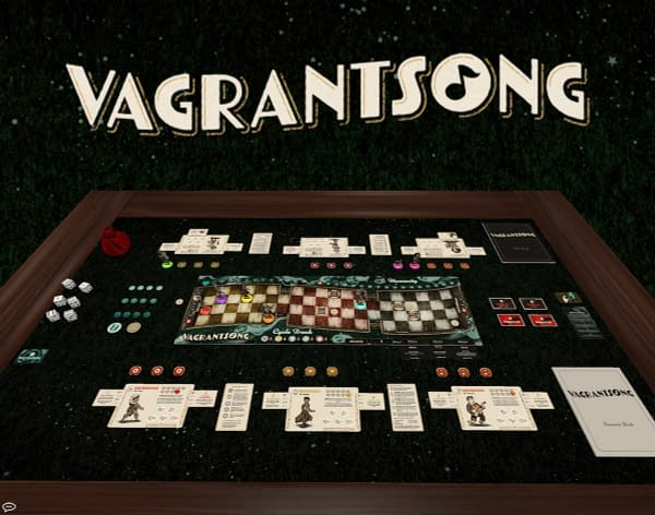 An array of components from Wyrd Games' Vagrantsong, a new board game that is available to preorder now, and during GenCon 2021.