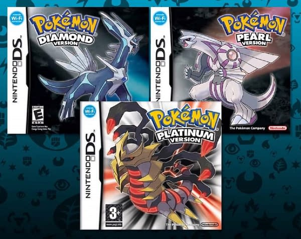 The box art for the original Pokémon Diamond and Pearl, shown here with Pokémon Platinum.