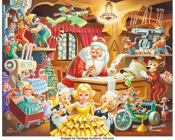 Carl Barks' Santa's Christmas Mail Painting From 1979 At Auction